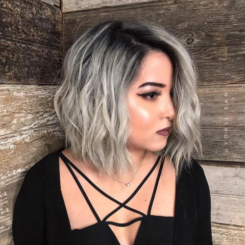 Gray Wavy Bob With Black Roots