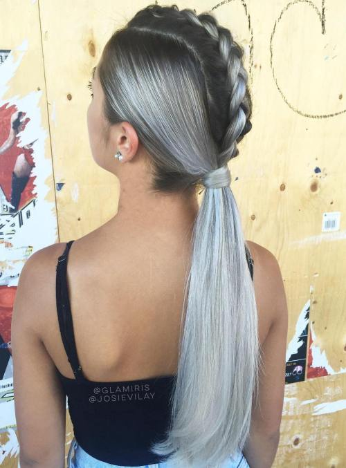 Mohawk Braid With A Low Sleek Ponytail