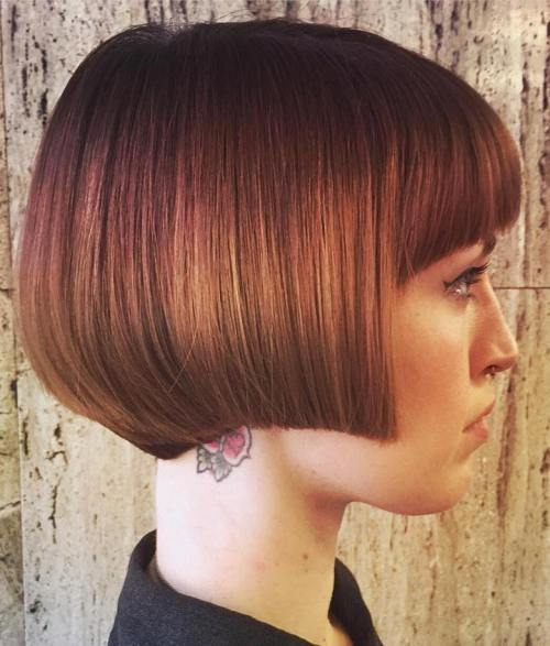 Red Angled Bob With Bangs