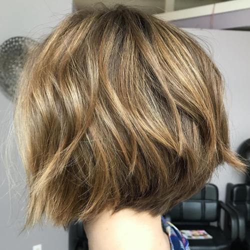 Warm Blonde Choppy Bob