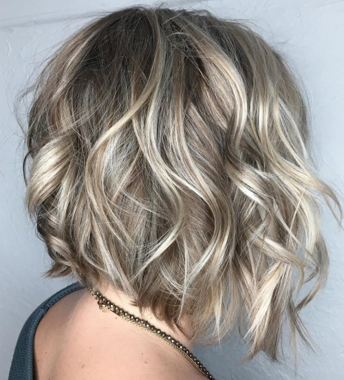 Wavy Angled Bob With Platinum Highlights