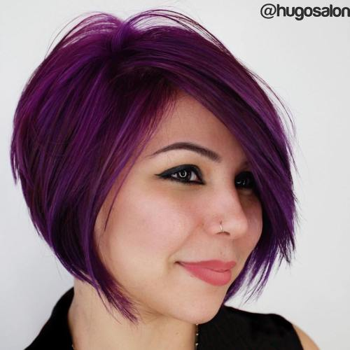 Layered Chin-Length Purple Bob