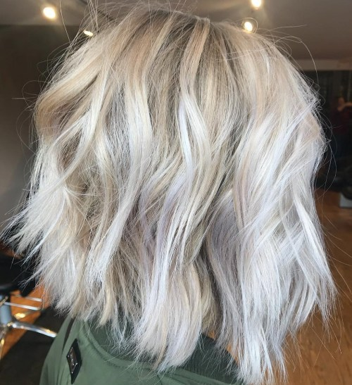 Choppy Ash Blonde Lob