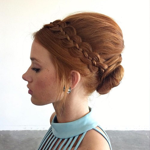 Updo With A Bouffant And Ribbon Braid