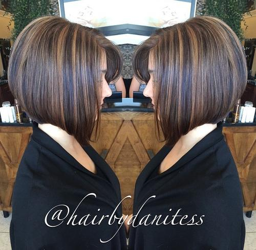 angled collar-bone bob with highlights