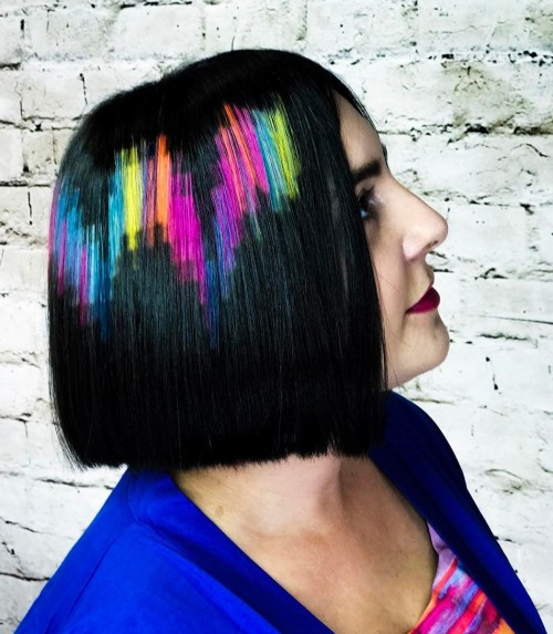 Black Blunt Bob With Pixels Hair Tattoo