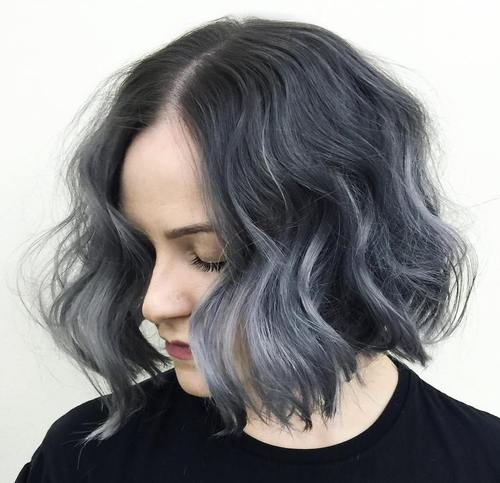 black wavy bob with gray ombre highlights