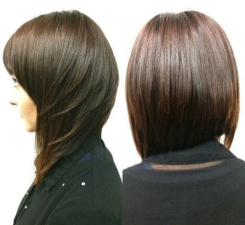 Asymmetrical layered bob with bangs