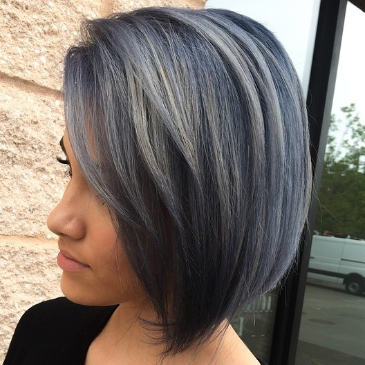 Black Bob With Gray Balayage