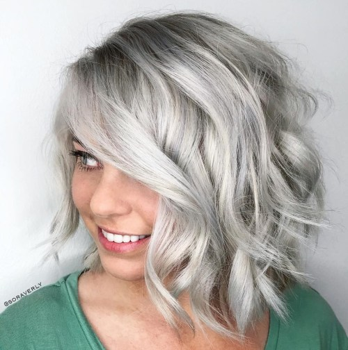 Curly Shaggy Gray Bob