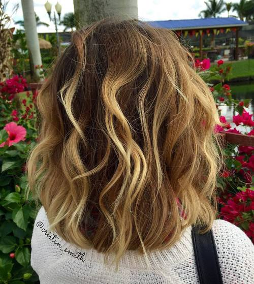 long wavy bob with balayage highlights