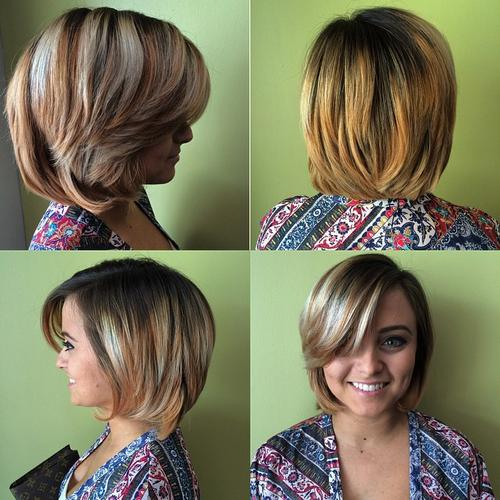 medium layered bob for thick hair
