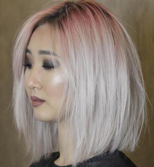 Platinum Textured Lob With Reddish Roots