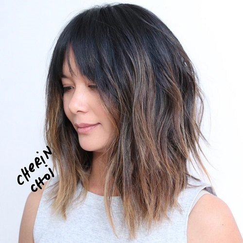 60 inspiring long bob hairstyles and lob haircuts 2018 razored brunette ombre lob winobraniefo Choice Image