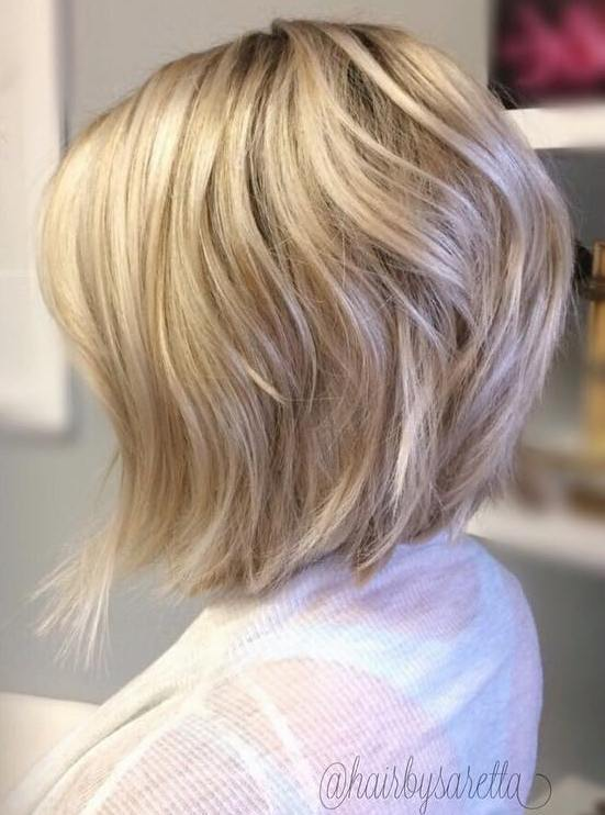 Stacked Angled Blonde Bob For Thick Hair