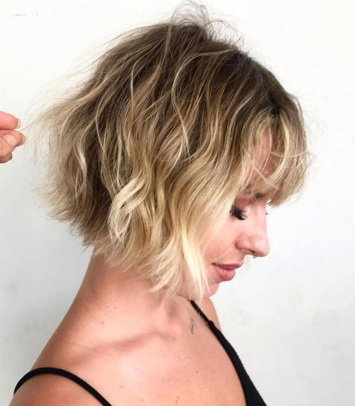 Chin-Length Wavy Bob With Bangs