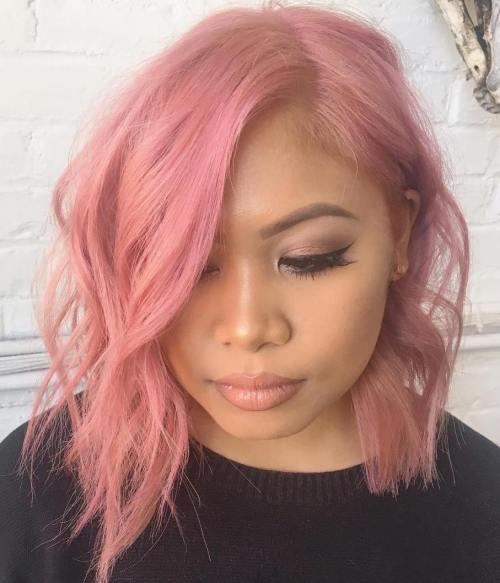 Choppy Asymmetrical Pastel Pink Bob