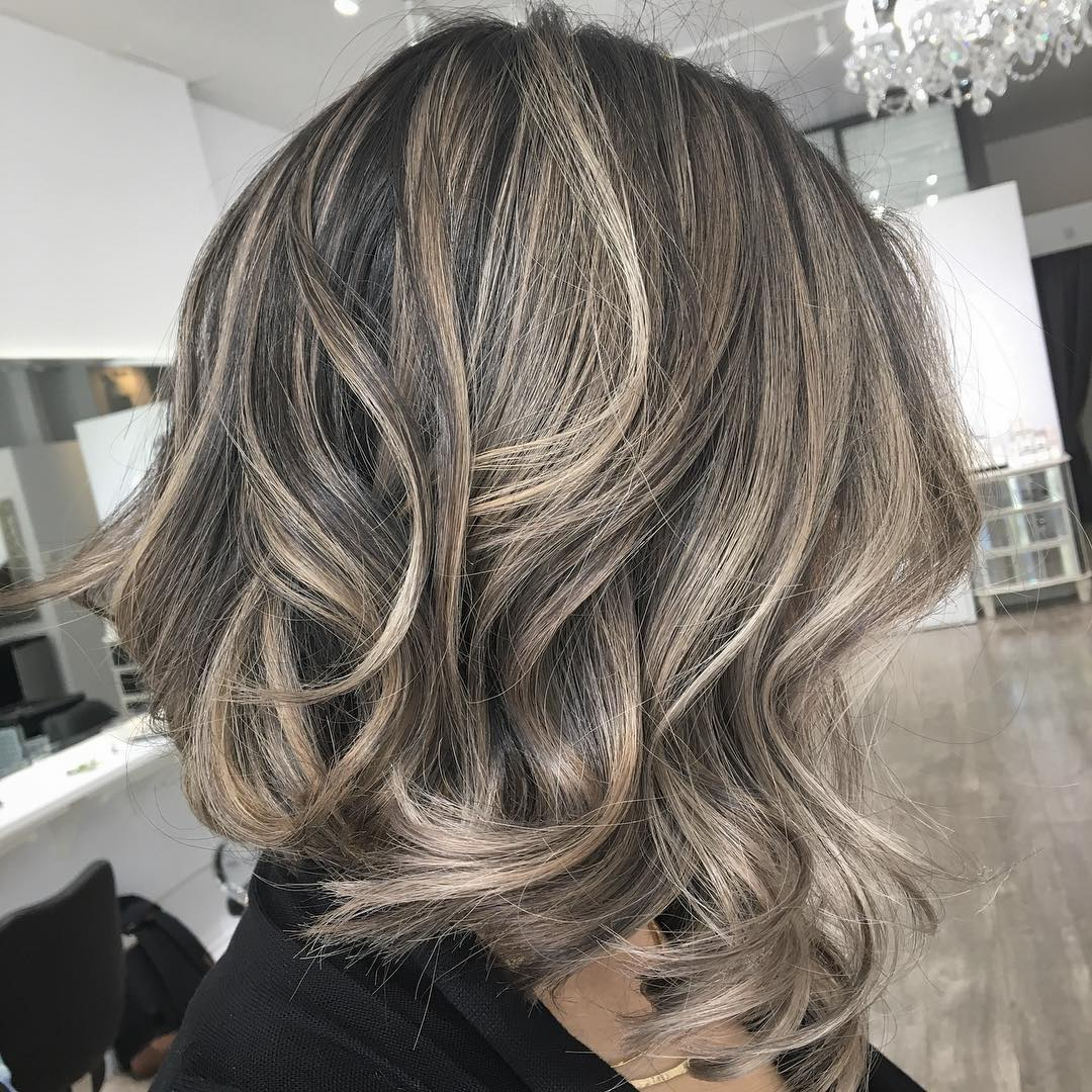 Dark Brown Lob With Blonde Balayage