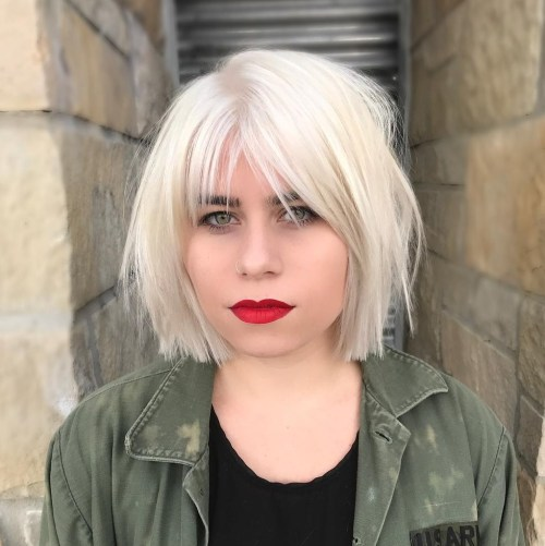 Straight Cut White Bob With Choppy Layers