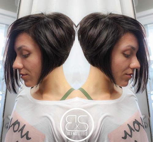Stacked angled asymmetrical bob