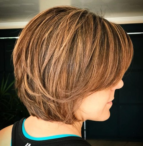 Layered Copper Brown Bob With Bangs