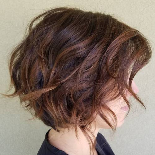 Messy Layered Chocolate Brown Bob
