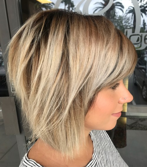 Wispy Caramel And Ash Blonde Balayage Bob