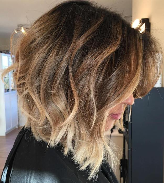 Angled Messy Brown Balayage Bob