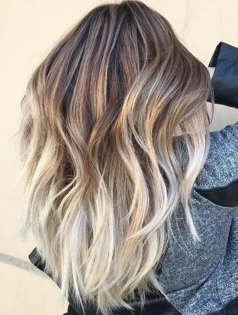 Brown and blonde balayage long hair
