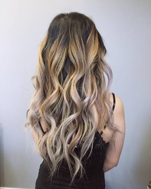 brown hair with golden and silver balayage