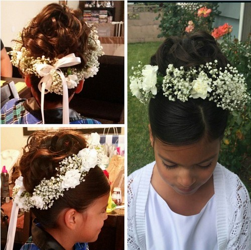 flower girl updo hairstyle for brown hair