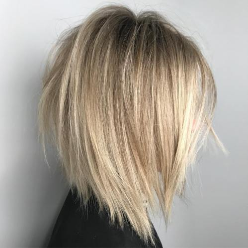Inverted Ash Blonde Balayage Lob