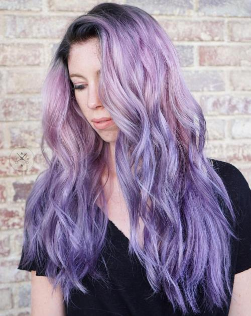 Lavender Ombre Hair With Root Fade