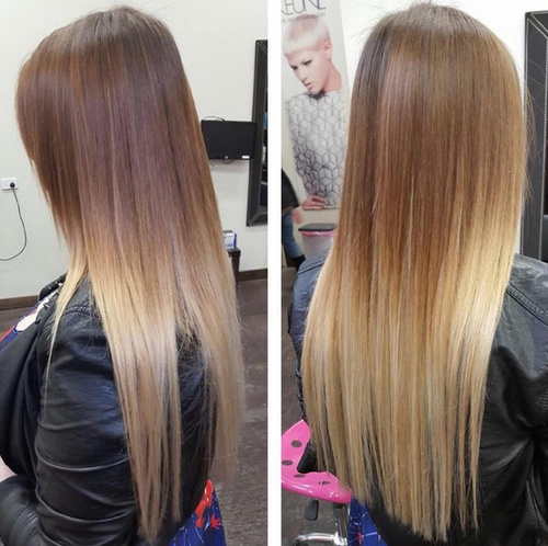 light brown to blonde ombre for long straight hair
