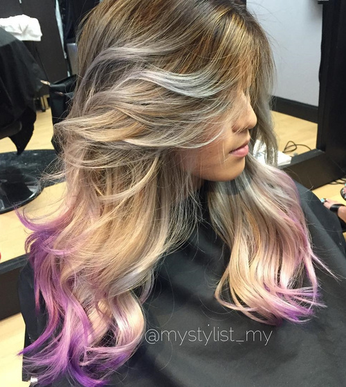 brown blonde hair with lavender dip dye