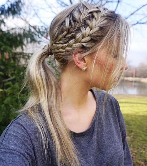 Two Braid And Pony Messy Hairstyle
