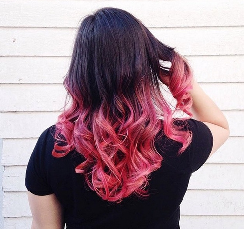 medium black hair with pink ombre