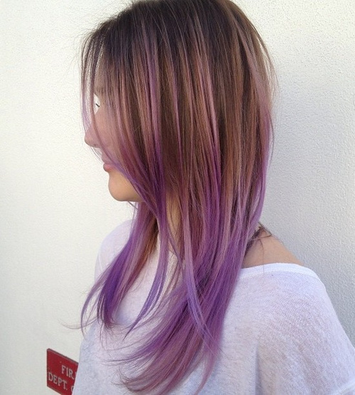 caramel hair color with lavender ends