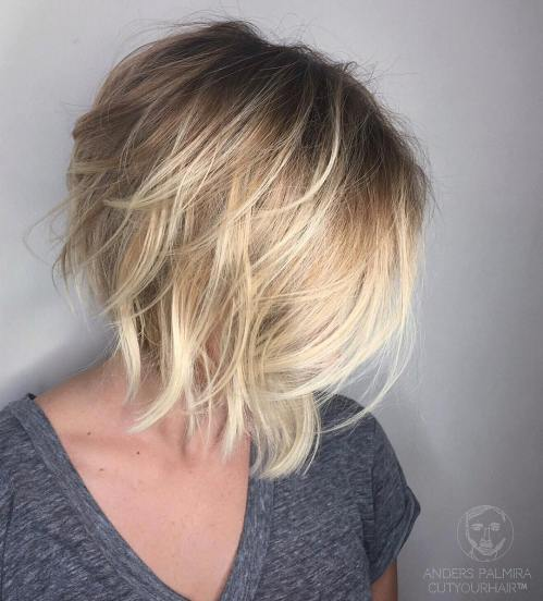 Angled Layered Blonde Bob