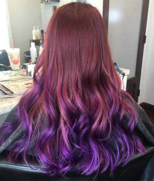 Burgundy To Purple Balayage