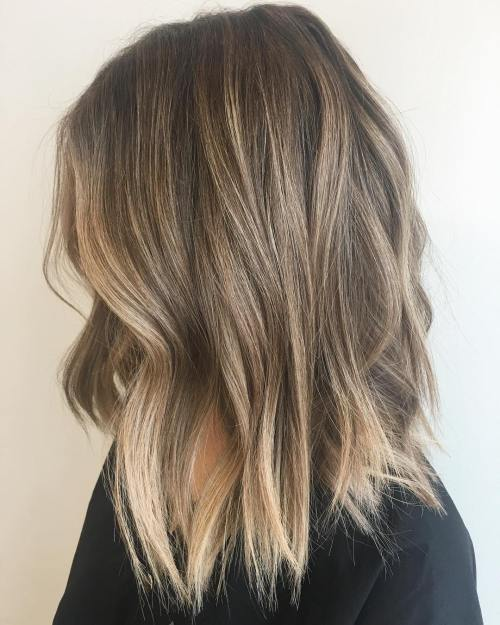 90 balayage hair color ideas with blonde brown and caramel highlights choppy dark blonde lob urmus Image collections