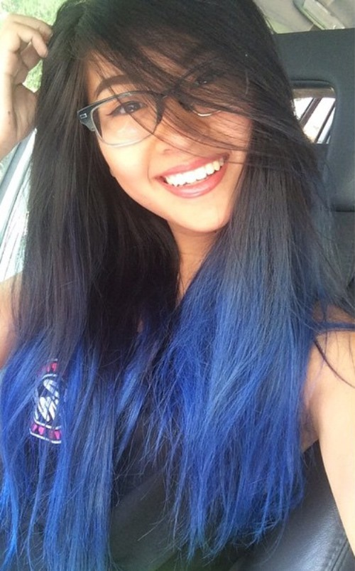 black to blue ombre for layered hair