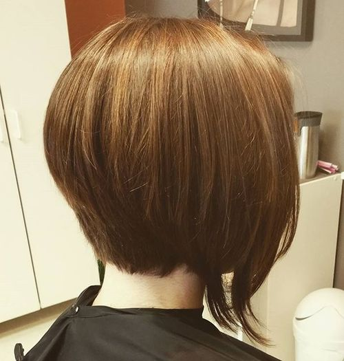 stacked golden brown bob