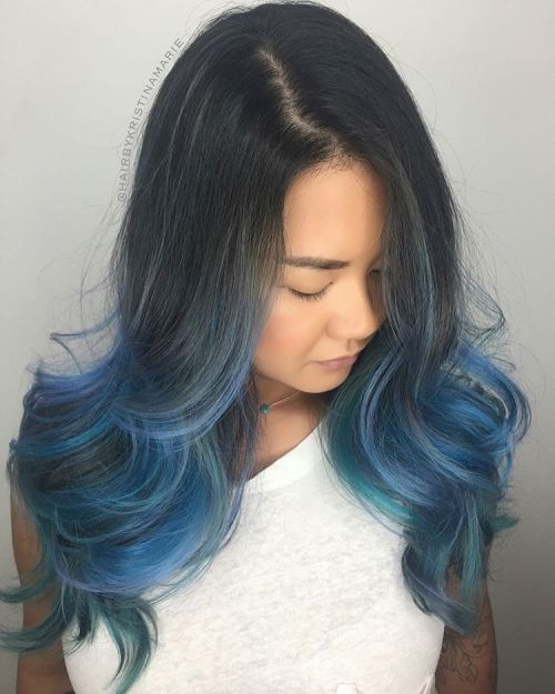 Teal And Blue Balayage For Black Hair