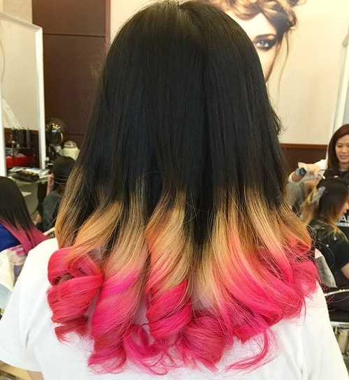 black, blonde and pink hair color