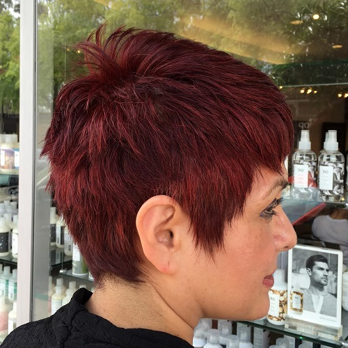 Short Choppy Burgundy Pixie
