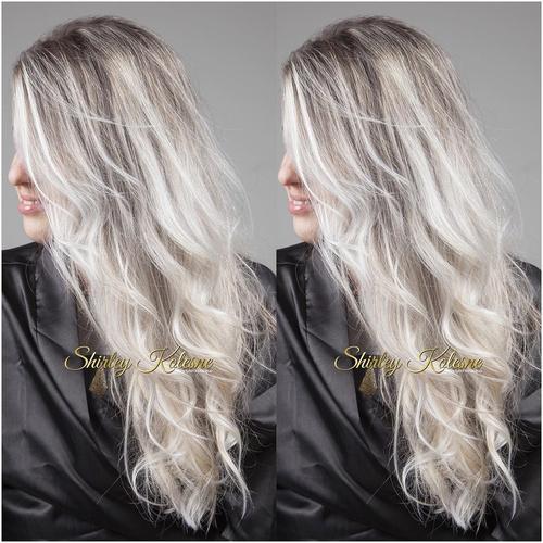 ash blonde hair with dark roots
