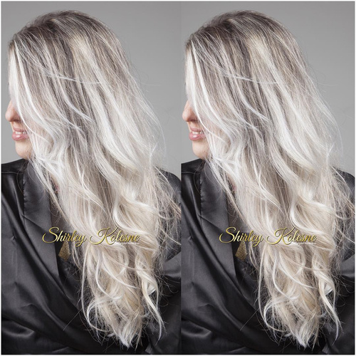 ash blonde hair with dark roots