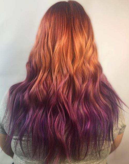 Copper To Purple Ombre Hair