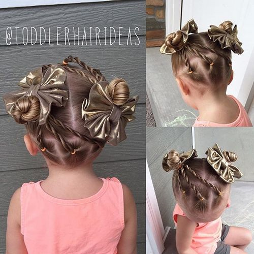 cute little girls hairstyle with twists and buns